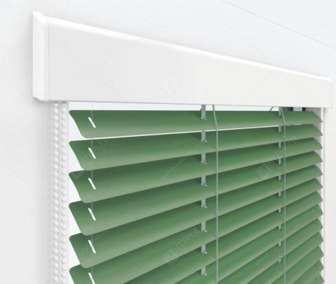 Жалюзи Изолайт 25 мм на пластиковые окна - цвет бело-зеленый