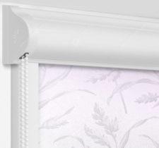 Рулонные кассетные шторы УНИ - Баски димаут сиреневый на пластиковые окна