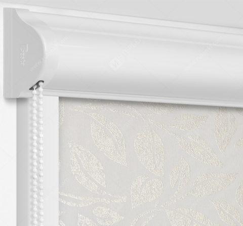 Рулонные кассетные шторы УНИ - Лейси белый блэкаут на пластиковые окна