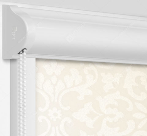 Рулонные кассетные шторы УНИ - Палау кремовый на пластиковые окна