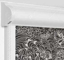 Рулонные кассетные шторы УНИ - Прованс черный на пластиковые окна