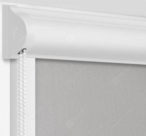 Рулонные кассетные шторы УНИ - Респект фр серый блэкаут на пластиковые окна