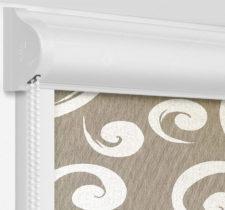 Рулонные кассетные шторы УНИ - Сейшелы коричневый на пластиковые окна