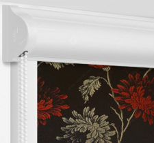 Рулонные кассетные шторы УНИ - Сиена черно-красный на пластиковые окна